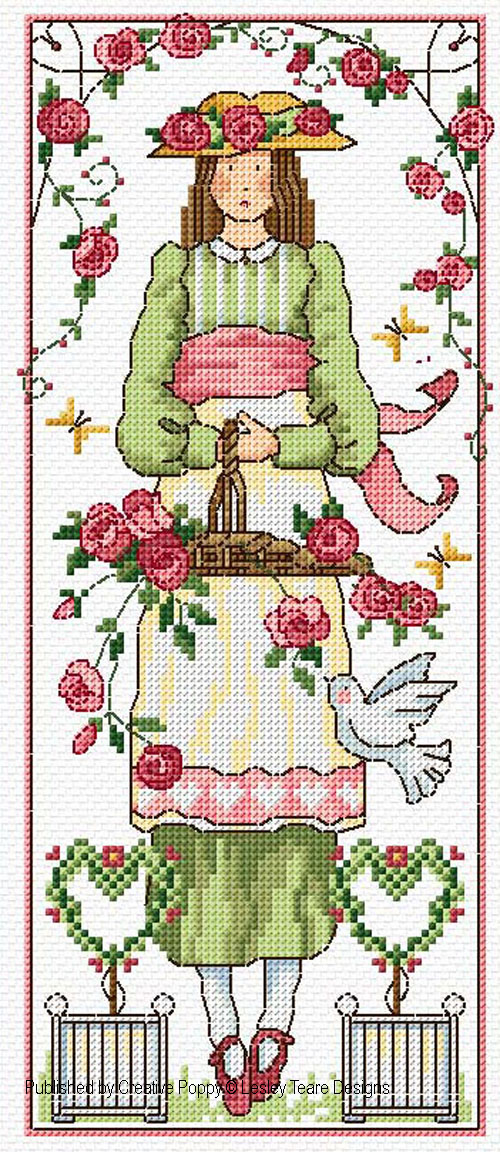 Rose Girl cross stitch pattern by Lesley Teare Designs