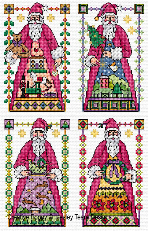 4 Santa cards cross stitch pattern by Lesley Teare Designs
