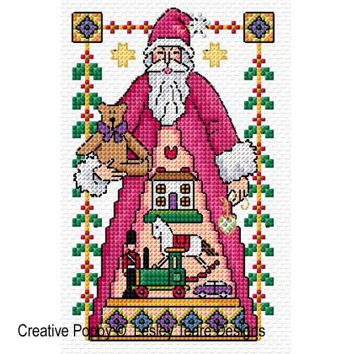 4 Santa cards cross stitch pattern by Lesley Teare Designs, zoom 1