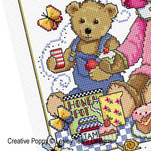 Teddy Bears Picnic cross stitch pattern by Lesley Teare Designs, zoom 1