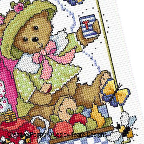 Teddy Bears Picnic cross stitch pattern by Lesley Teare Designs, zoom1