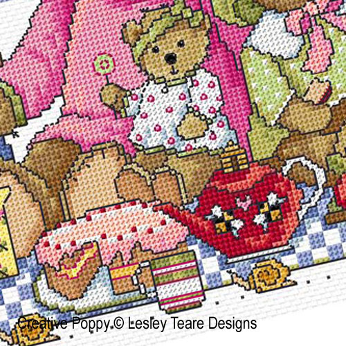 Teddy Bears Picnic cross stitch pattern by Lesley Teare Designs, zoom3
