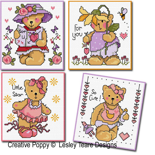 Lesley Teare Designs - Teddy cards for girls (cross stitch chart)