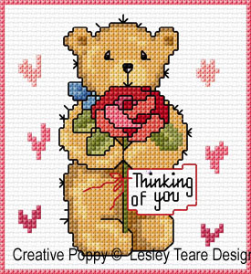 Teddy cards for Happy Occasions cross stitch pattern by Lesley Teare Designs, zoom 1