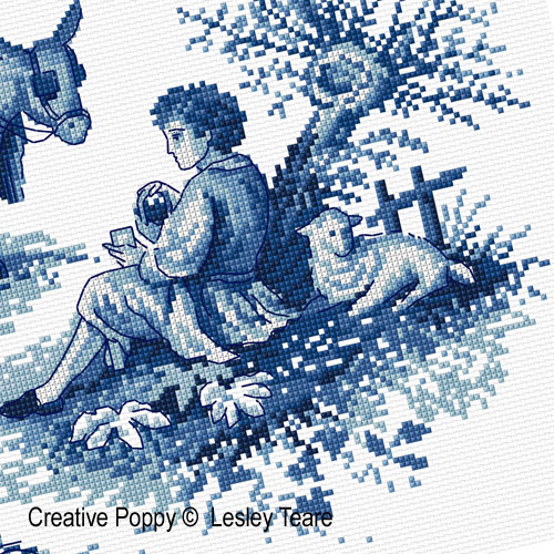 Toile de Jouy cross stitch pattern by Lesley Teare Designs, zoom1