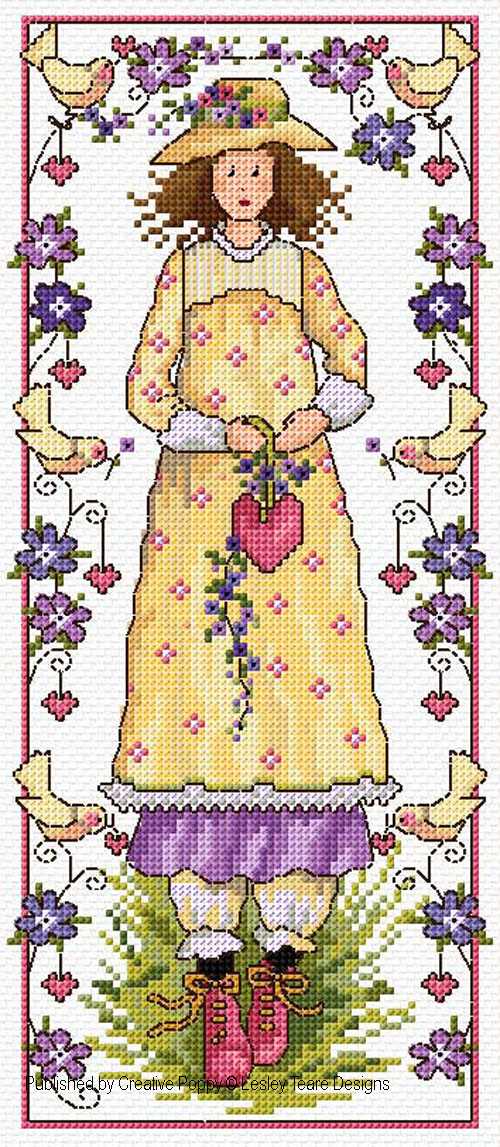 Valentine girl cross stitch pattern by Lesley teare Designs