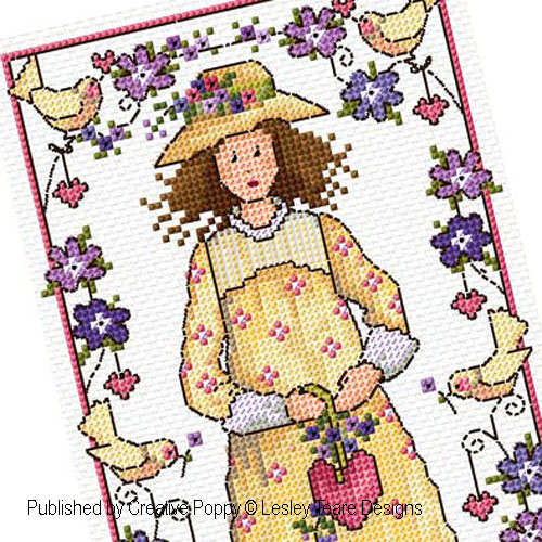 Valentine girl cross stitch pattern by Lesley teare Designs, zoom 1