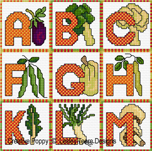 Vegetable Alphabet cross stitch pattern by Lesley Teare designs