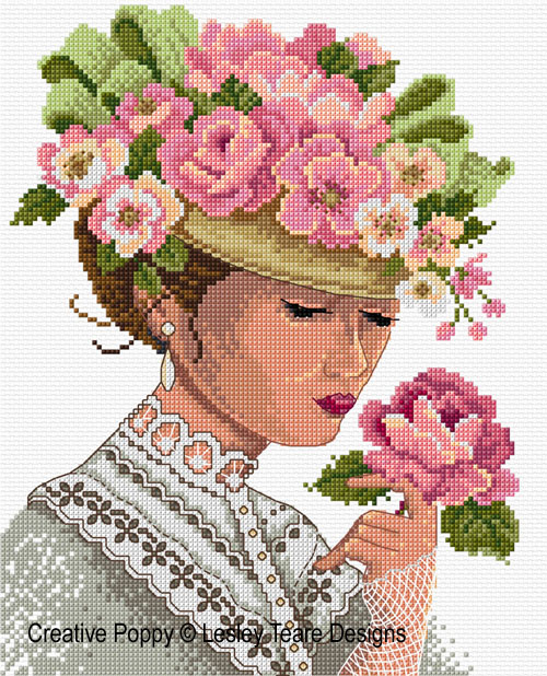 Victorian Lady cross stitch pattern by Lesley Teare Designs