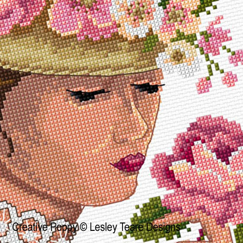 Victorian Lady cross stitch pattern by Lesley Teare Designs, zoom 1