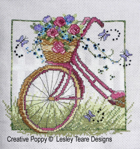 Vintage Bike cross stitch pattern by Lesley Teare Designs