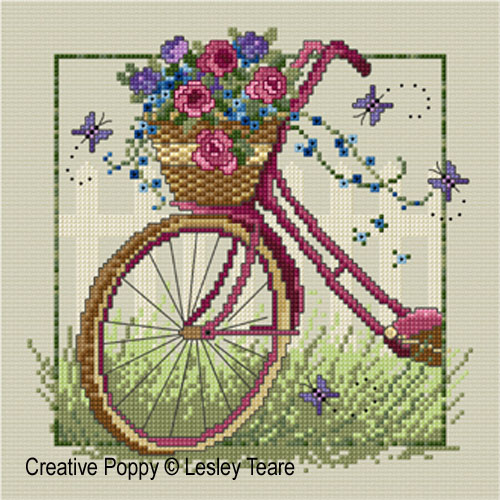 Vintage bike cross stitch pattern by Lesley Teare