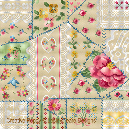 Crazy Quilting cross stitch pattern by Lesley Teare Designs