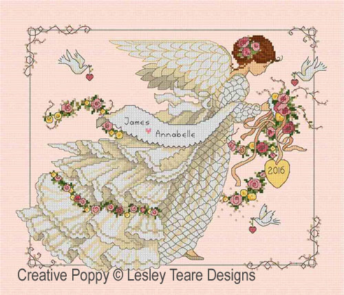 Wedding Angel cross stitch pattern by Lesley Teare Designs