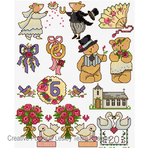 Motifs Wedding Day cross stitch pattern by Lesley Teare Designs