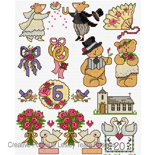 Motifs Wedding Day cross stitch pattern by Lesley Teare Designs