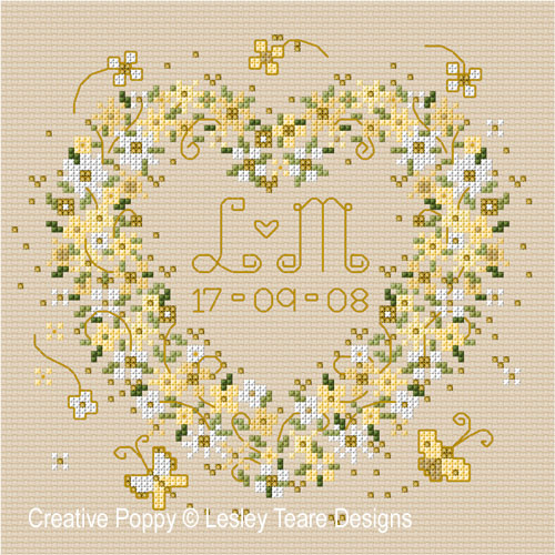 Wedding Heart cross stitch pattern by Lesley Teare Designs