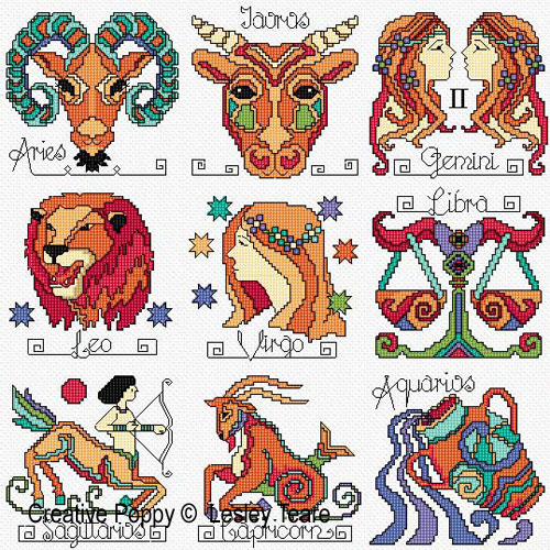 Zodiac Signs cross stitch pattern by Lesley Teare