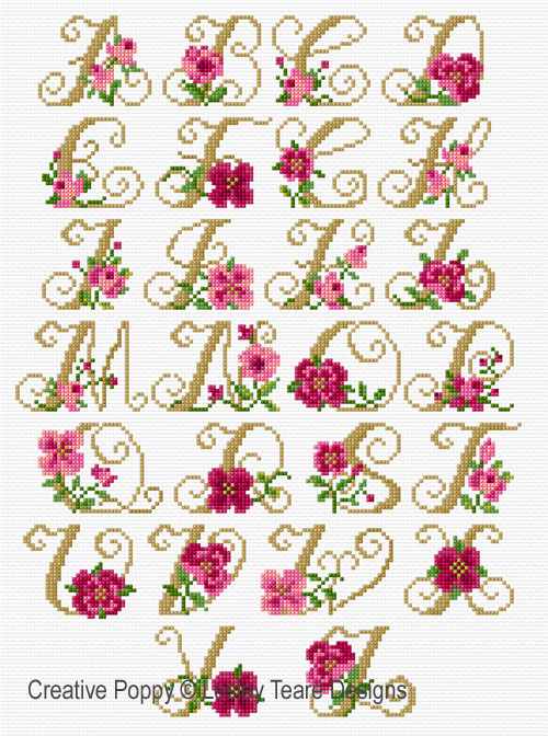 Alphabet - Roses cross stitch pattern by Lesley Teare Designs