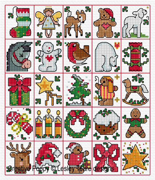 25 Christmas Tag motifs cross stitch pattern by Lesley teare Designs