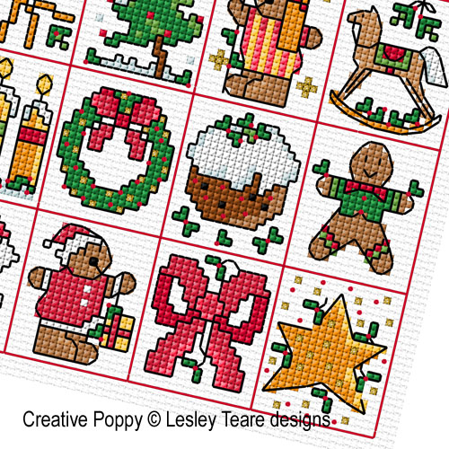25 Christmas tag motifs cross stitch pattern by Lesley Teare Designs, zoom 1