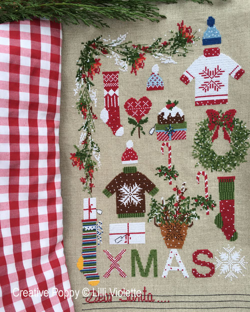 Dear Santa cross stitch pattern by Lilli Violette