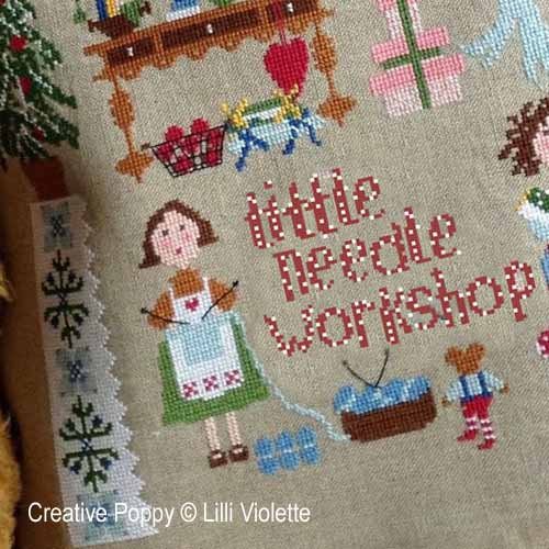 Little Needlework shop cross stitch pattern by Lilli Violette, zoom2