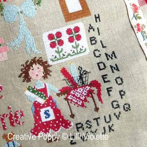 Little Needlework shop cross stitch pattern by Lilli Violette