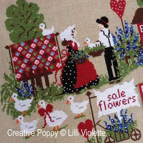 Quilt Sale cross stitch pattern by Lilli Violette, zoom 1