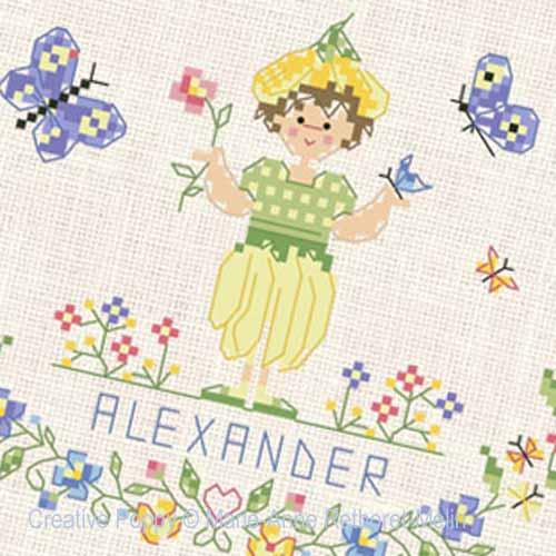 Garden Baby Boy cross stitch pattern by Marie-Anne Réthoret-Melin, zoom 1