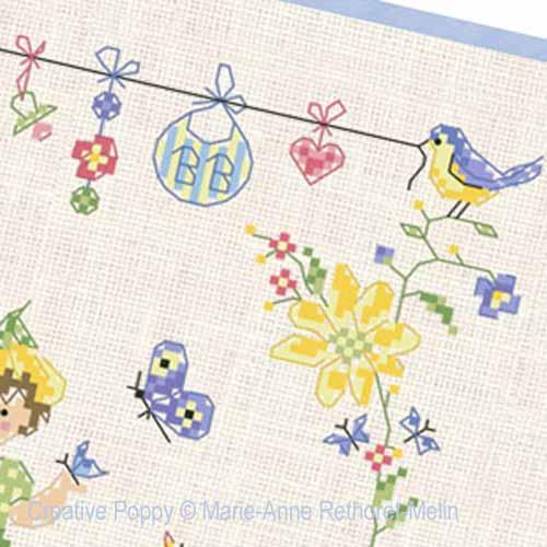 Garden Baby Boy cross stitch pattern by Marie-Anne Réthoret-Melin, zoom4