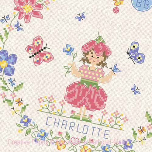Garden Baby Girl cross stitch pattern by Marie-Anne Réthoret-Melin