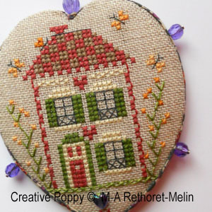 The House with the Red door - pinkeep cross stitch pattern by Marie-Anne Rethoret-Melin