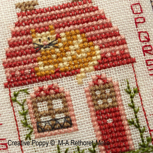 Cat on the Rooftop Pinkeep cross stitch pattern by Marie-Anne Rethoret-Melin