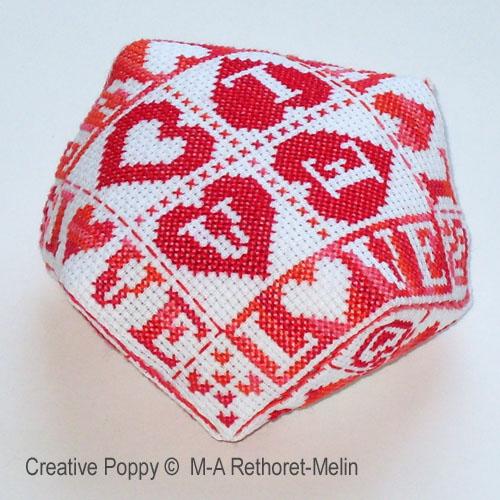 Love hearts biscornu , cross stitch pattern by M.A. Rethoret