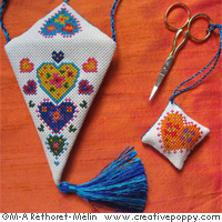 Satin Scissor Case & Fob - Sunny Colors cross stitch pattern by Marie-Anne Réthoret-Melin