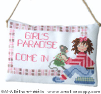 Girl's paradise: Come in!, counted cross stitch chart, designed by Marie-Anne Rethoret-Melin