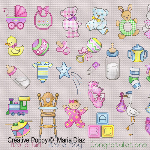 36 Baby motifs cross stitch pattern by Maria Diaz designs