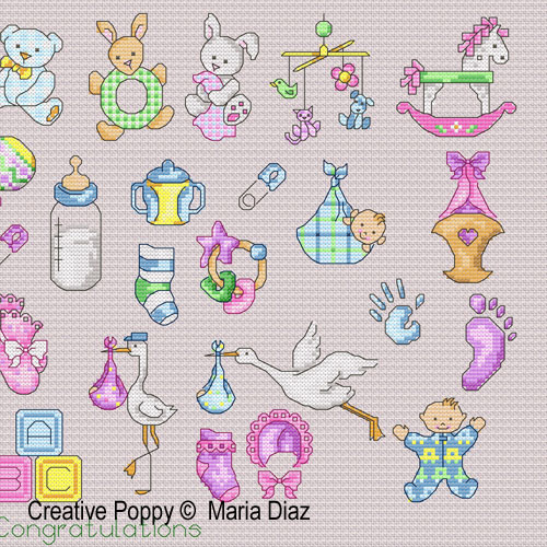 36 Baby motifs cross stitch pattern by Maria Diaz designs, zoom 1