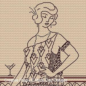 Blackwork Lady, designed by Maria Diaz - Blackwork pattern chart (zoom1)