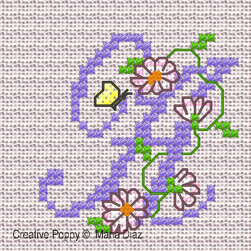 Daisy Chain alphabet cross stitch pattern by Maria Diaz designs, zoom 1