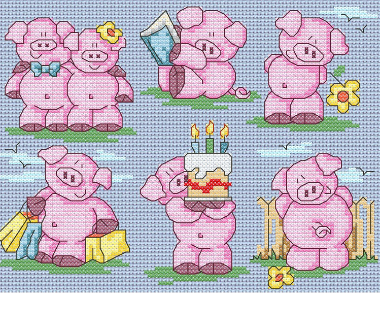 11 Cute Summer Pigs cross stitch pattern by Maria Diaz