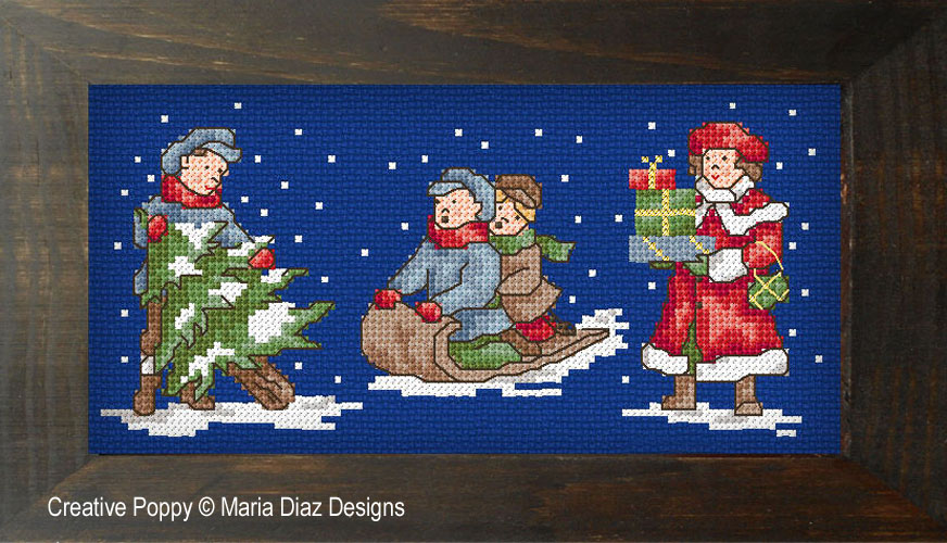 Victorian Christmas Children cross stitch pattern by Maria Diaz Designs