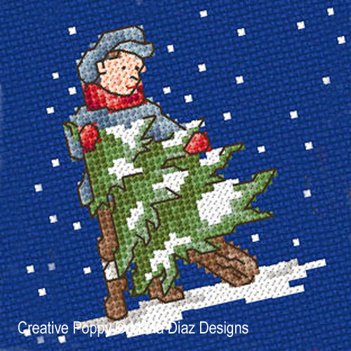 Victorian Christmas Children cross stitch pattern by Maria Diaz Designs, zoom1