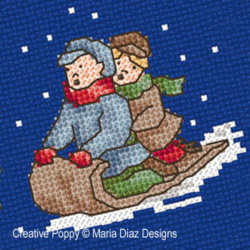 Victorian Christmas Children cross stitch pattern by Maria Diaz Designs, zoom 3