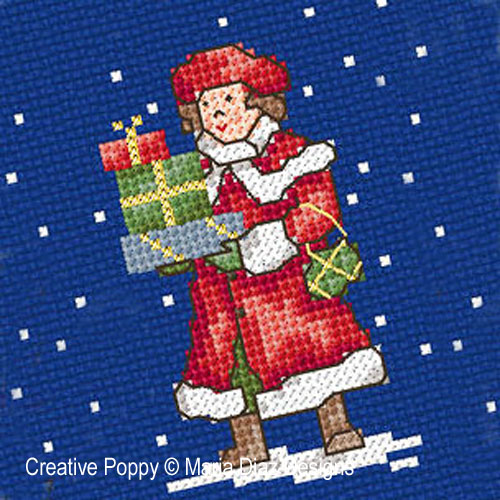 Victorian Christmas Children cross stitch pattern by Maria Diaz Designs, zoom 4