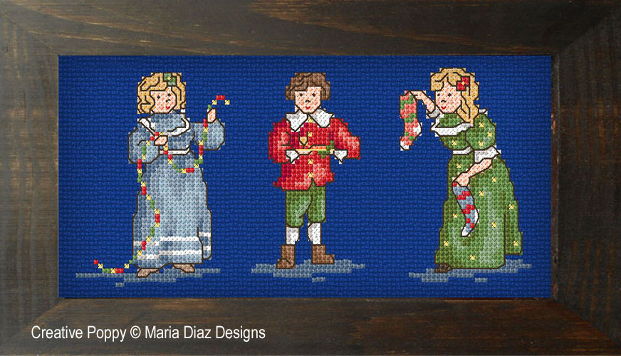 Victorian Christmas Children cross stitch pattern by Maria Diaz Designs, zoom 1