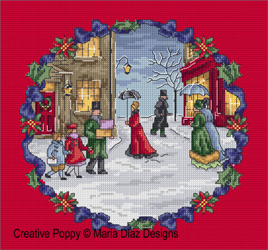 Victorian Christmas cross stitch pattern by Maria Diaz Designs