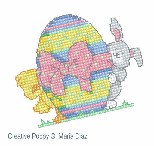 Easter Chick and Bunny cross stitch pattern by Maria Diaz designs, zoom1
