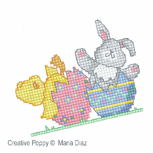 Easter Chick and Bunny cross stitch pattern by Maria Diaz designs, zoom3